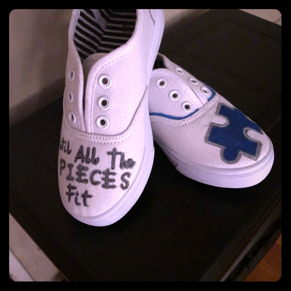 2f3ba7c59aad3 Hand painted Kids Autism shoes Boutique